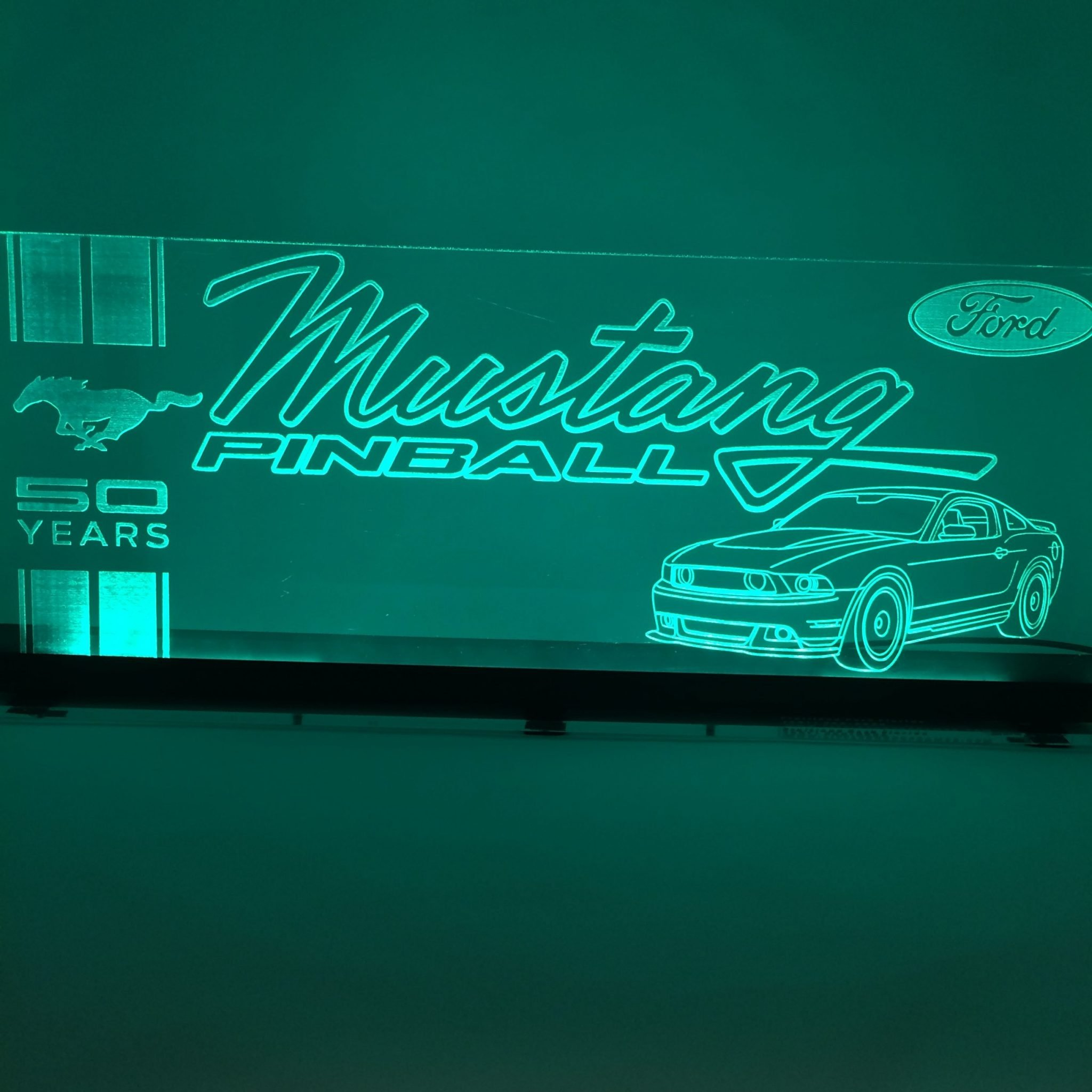 Mustang Acrylic LED Topper for Pinball Machine on